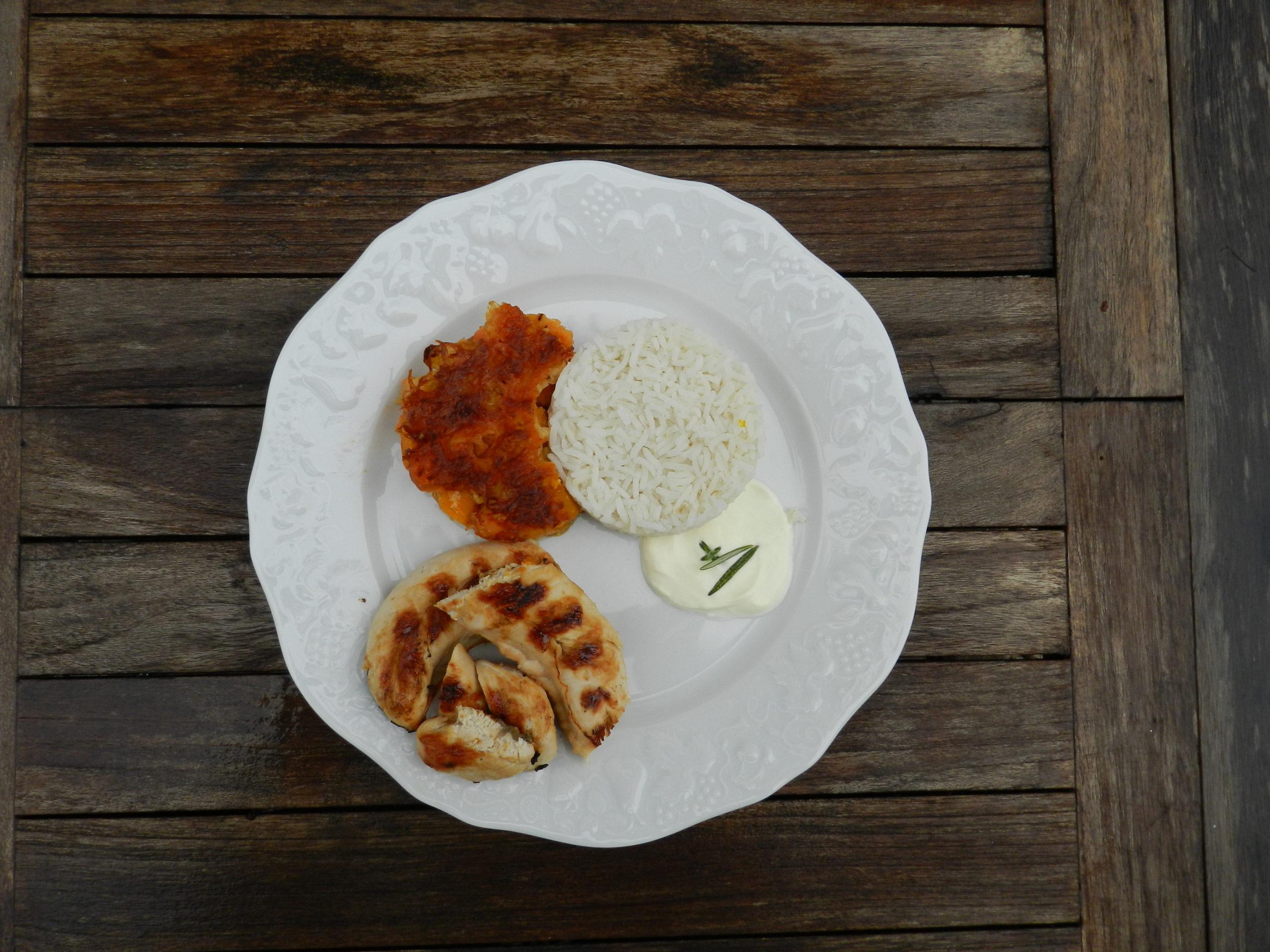 gratin potiron-patates douces_riz fumé_crème_poulet fumé
